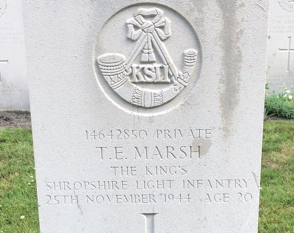 The war grave in the Netherlands of Private Thomas Enoch Marsh.