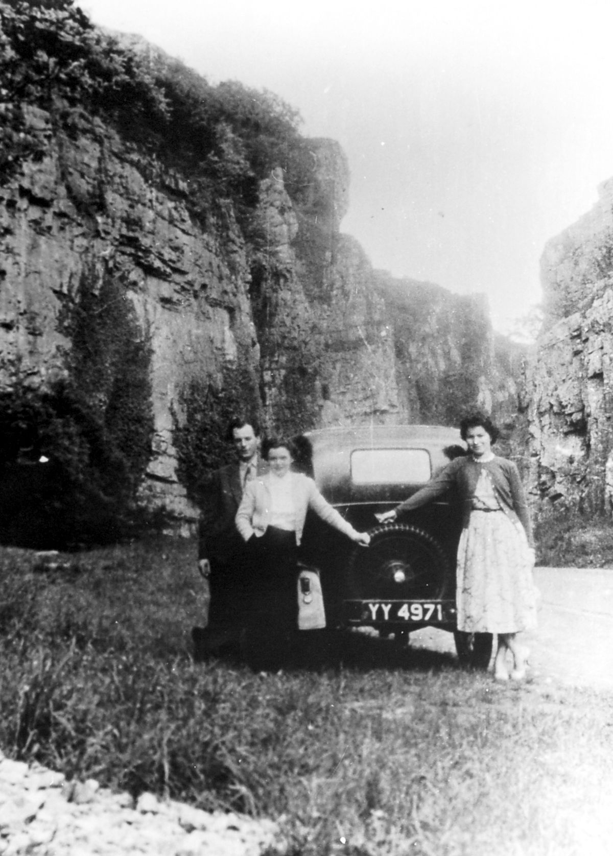 Ken with wife Ethel and his sister Mary on a trip in YY 4971 to the Cheddar Gorge in the 1950s – son Dave is aiming to go back there to recreate this picture.