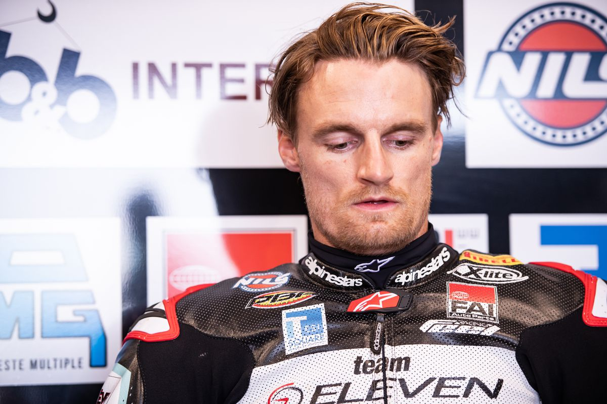 After being injured in the Superpole race, Davies was forced to retire from race two. Picture: Gorini Luca
