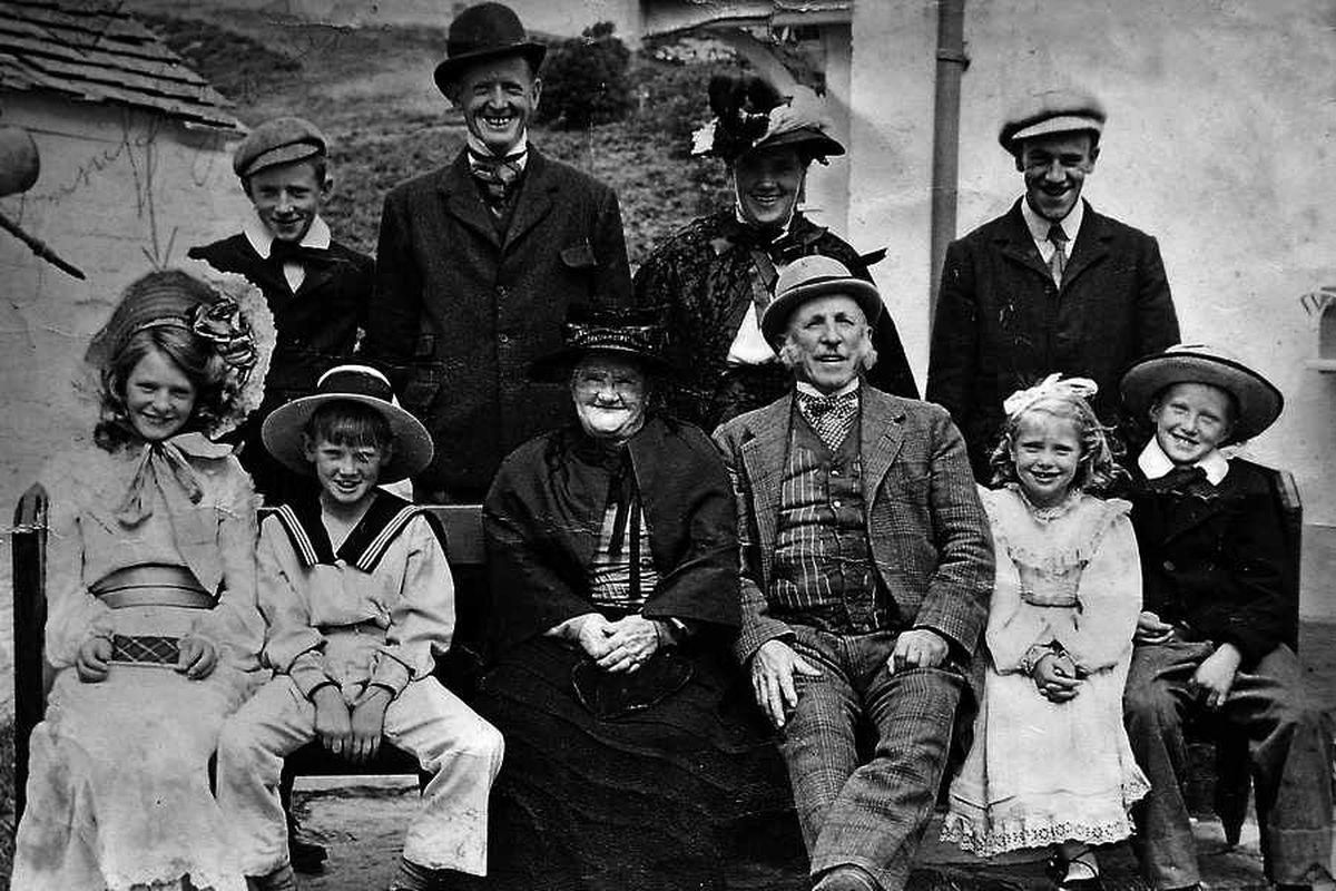 Stella and her family in their extras costumes outside their home, Chapel House. Stella is front, second from right.