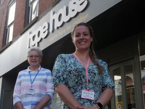 Ludlow's Hope House shop manager Emma Gibson and volunteer Carole Atack.