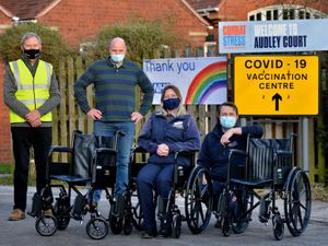 From left with the new wheelchairs are volunteer Roger Osborne, clinical director Dr Stefan Waldendorf, Lindsey Astley and Sam Evans from Ableworld