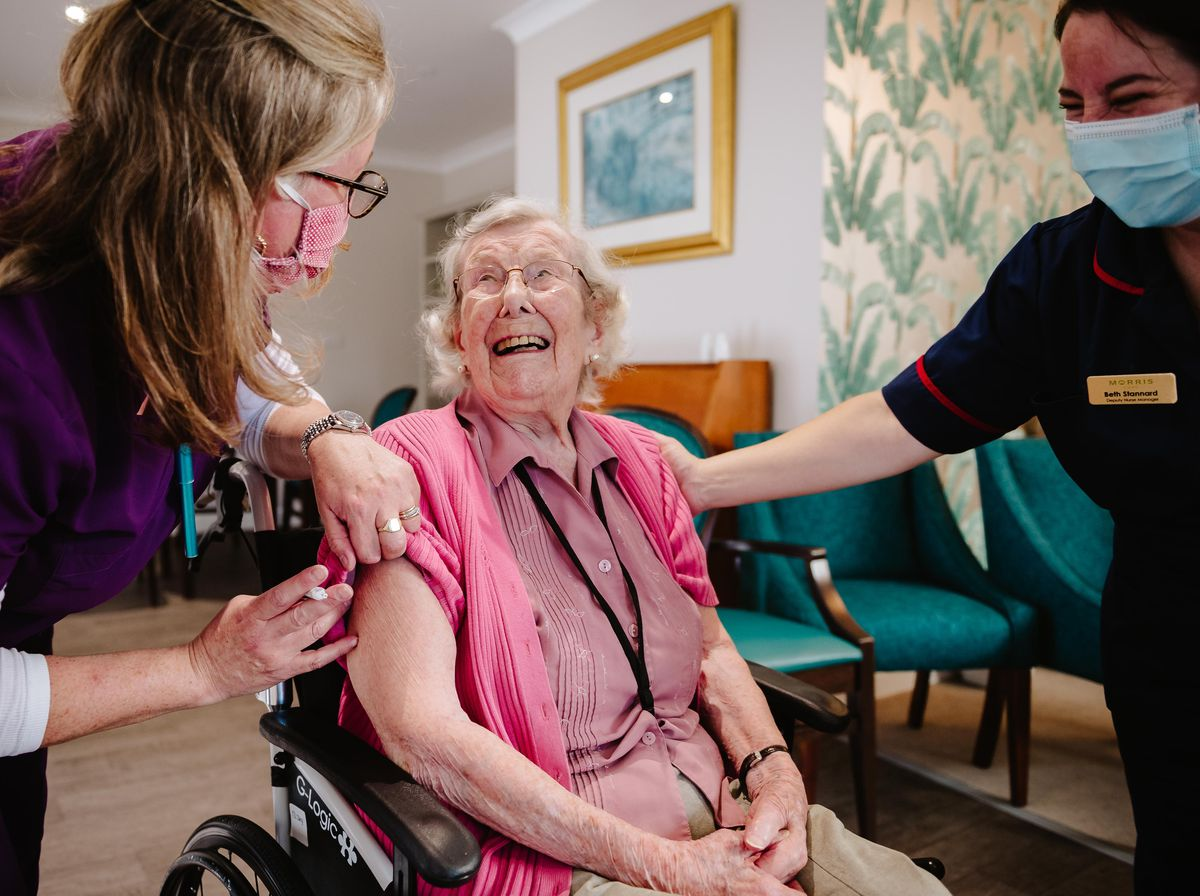 Resident Helen Joan Dyke who is the eldest resident at 104 with deputy manager Beth Stannard and Dr Charlotte Hart (Clinical Care Director for Shrewsbury Primary Care Group)