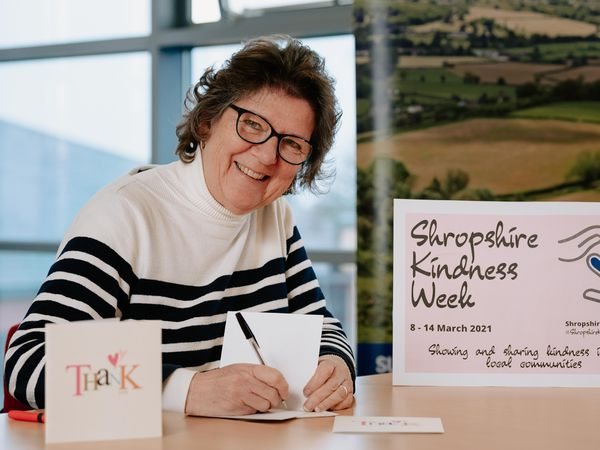 Shropshire Rural Communities Charity is hosting Shropshire Kindness Week. CEO Julia Baron is writing thank you cards to their volunteers