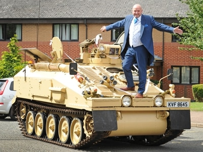 WATCH: Groom travels by tank to Shropshire wedding