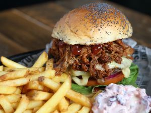 Good enough to convert a vegan? – that's quite some statement but our man thinks the Smoke Stop BBQ burgers are that good                      Pictures: Russell Davies