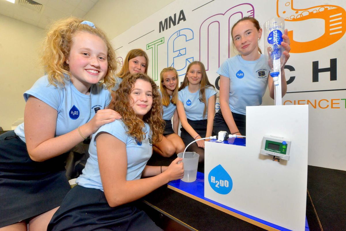Newport Girls High and team: H2go, Portia Bolton 14, Kirsty Kehler 14, Evie Anderson 13, Amelia Risdon 14, Lucy Dale 14, Olivia McLaughlin 14, with a device that measures water use