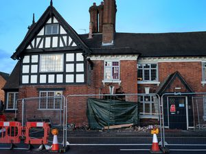 The Crown pub, Albrighton, after a car ploughed into the side of it