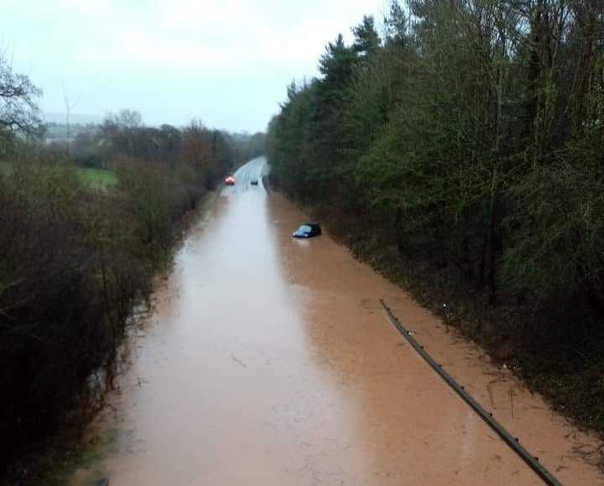 Storm Denis flooding on the A49 near Ludlow. Photo: Meirion Woolf