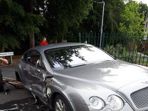 A luxury Bentley was involved in the crash. Picture: Telford Cops