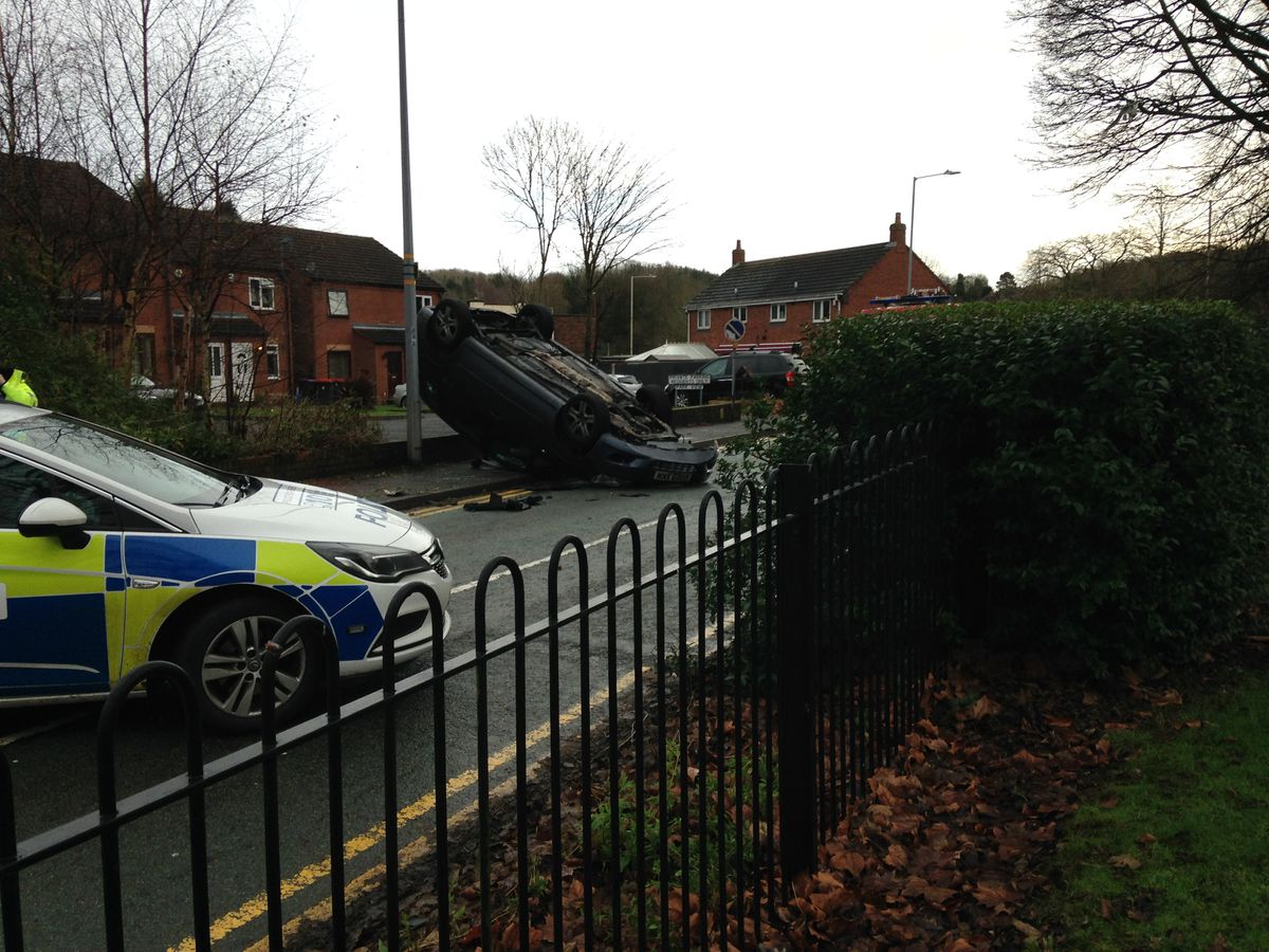 A car flipped onto its roof in Hadley Road, Telford