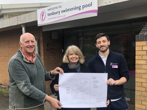 Tenbury Community Pool director Adrian Taylor, Harriett Baldwin MP and Tom Mansfield, leisure centre manager, with the plans.
