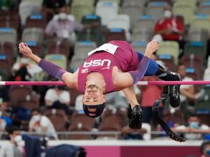 Sam Grewe of the United States warms up before the men's high jump