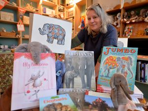 Art and Artisan books owner Rachel Hawes with some elephant stock in the Bishop's Castle shop