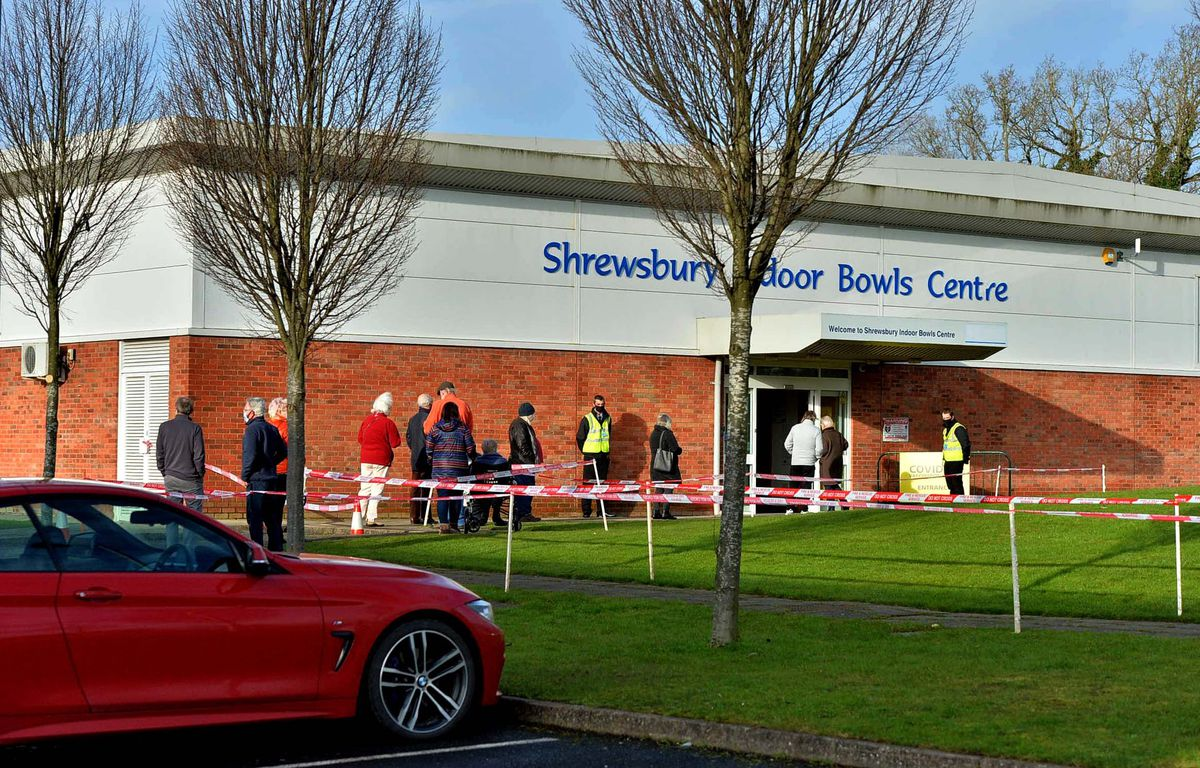 Queues outside the vaccine hub at Shrewsbury Indoor Bowls Centre