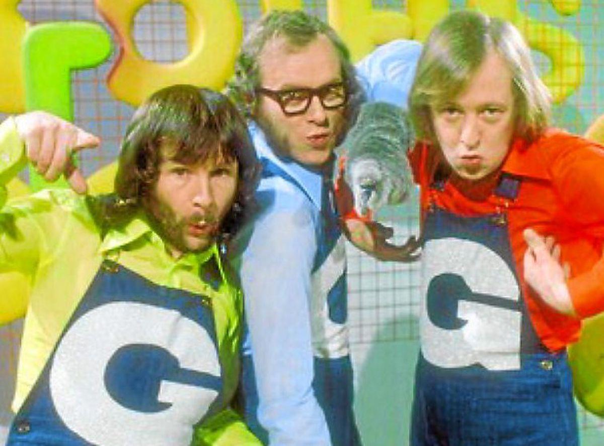 Tim, right, in The Goodies, with Bill Oddie and Graeme Garden