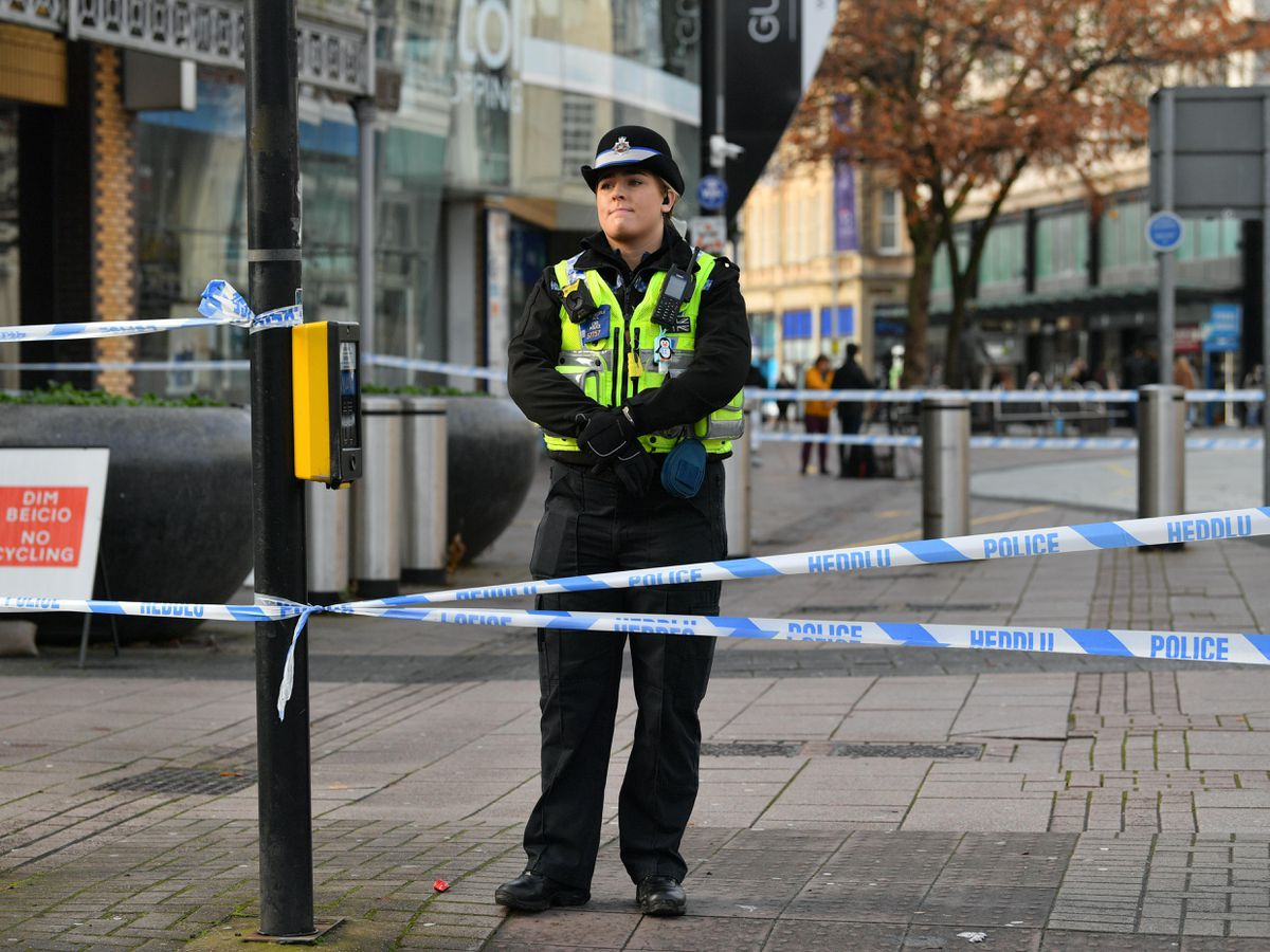 A police officer in Cardiff city centre