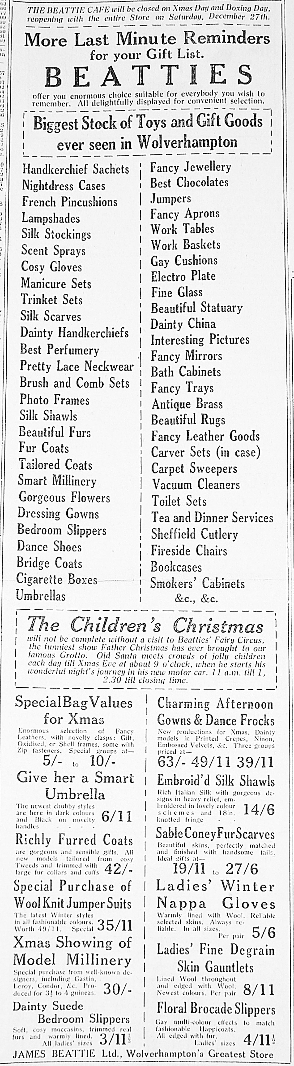 Christmas gift ideas from Beatties in Wolverhampton in 1930.