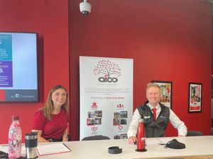 Louise Cowling, Marketing Executive, and Luke Allwood-Reid,Finance Clerk, at the Belvidere School careers day, hosted at Aico headquarters.