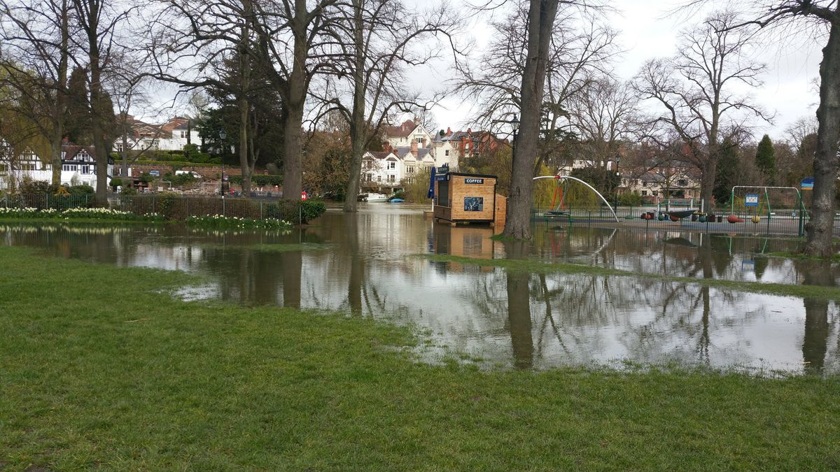 Flooding in the Quarry Park. Photo: Tim Vasby-Burnie