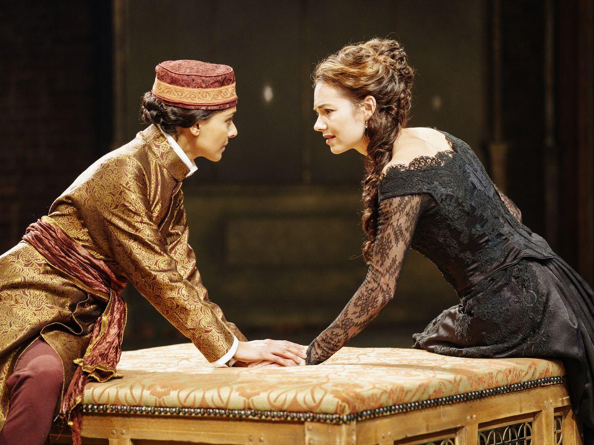 Dinita Gohil as Viola/Cesario and Kara Tointon as Olivia. Pictures by: Manuel Harlan