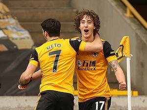 Fabio Silva of Wolverhampton Wanderers celebrates after scoring a goal to make it 1-1.