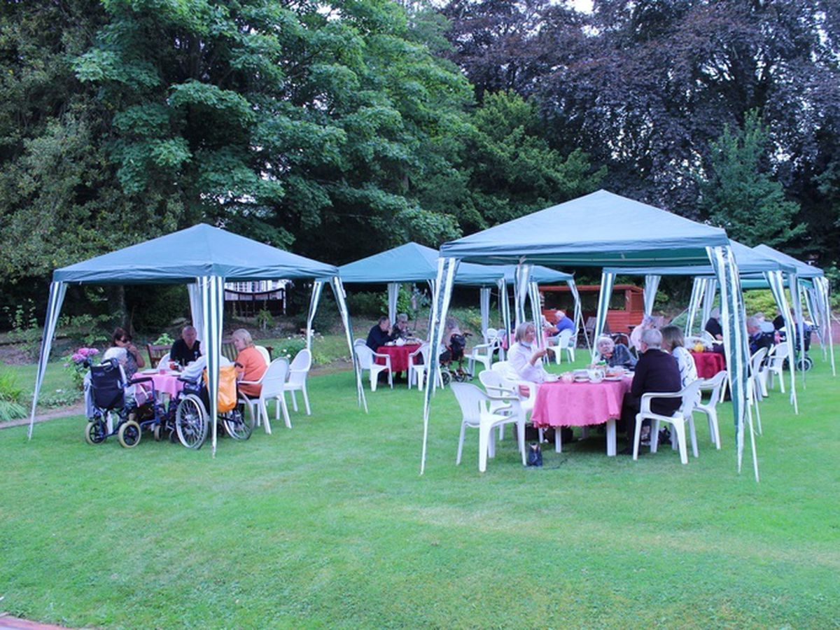 Gazebos in the garden at the Lady Forester Centre during a celebratory lunch