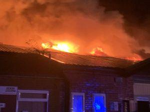 The blaze on Wem Business Park. photo: Wem Fire Station