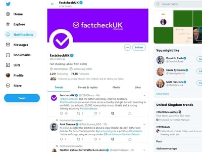 Tories criticised after rebranding party Twitter account as factcheckUK