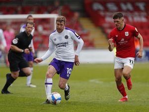 Josh Vela of Shrewsbury Town and Callum Ainley of Crewe Alexandra (AMA)