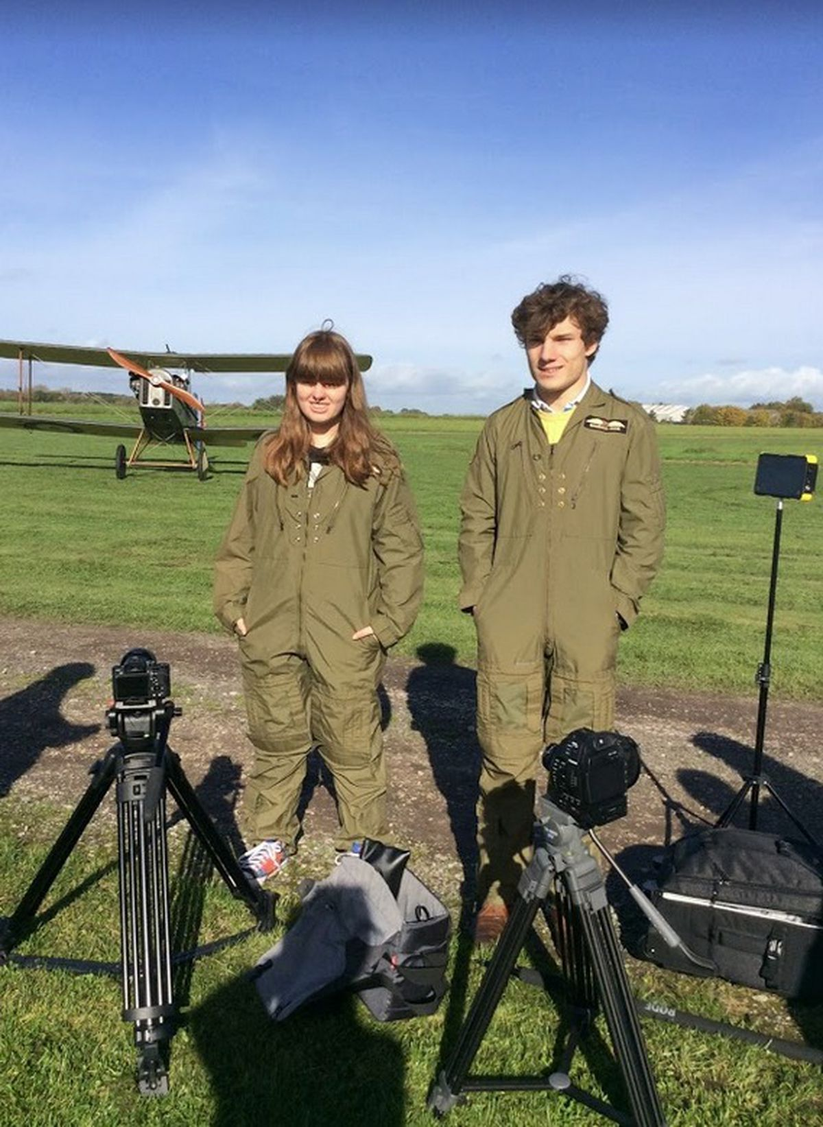 Rory Blessington, 18, and Heather Mager, 17, at Otherton Airfield in Staffordshire