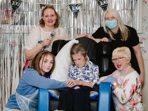From left, Ffion Sefton, singer Kerry from Nostalgic Music, Betty Whitehouse, Maria Armstrong, carer, and Betty's daughter Pat Ward