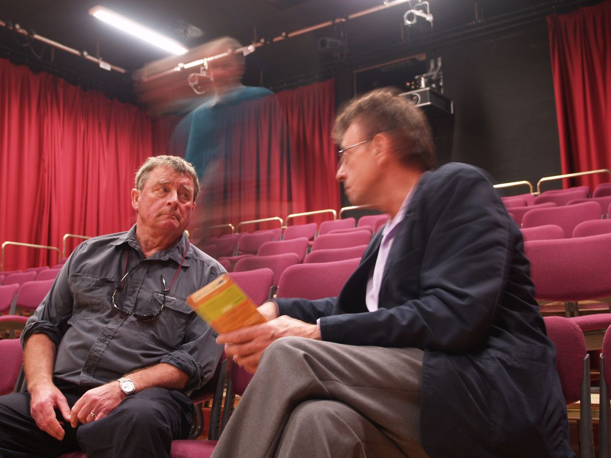 Peter Phillips discussing the SpArC Theatre programme with committee member Richard Whately in 2013