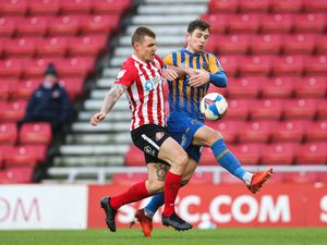 Max Power of Sunderland and Donald Love of Shrewsbury Town. (AMA)