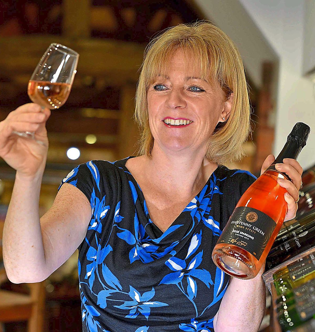 Wine time – Clive's wife Lisa samples a rosé