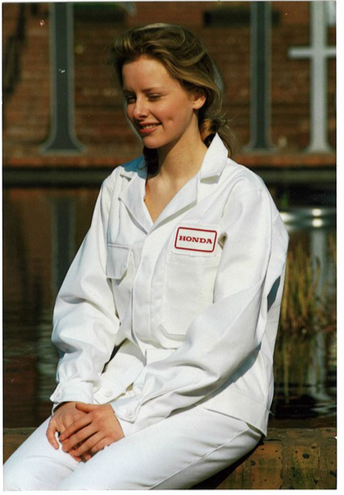 Holly Worthington, Mike's daughter, wearing Honda workwear designed and manufactured by JM Worthington