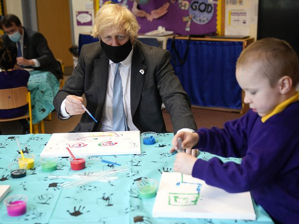 Prime Minister Boris Johnson on a visit to a primary school