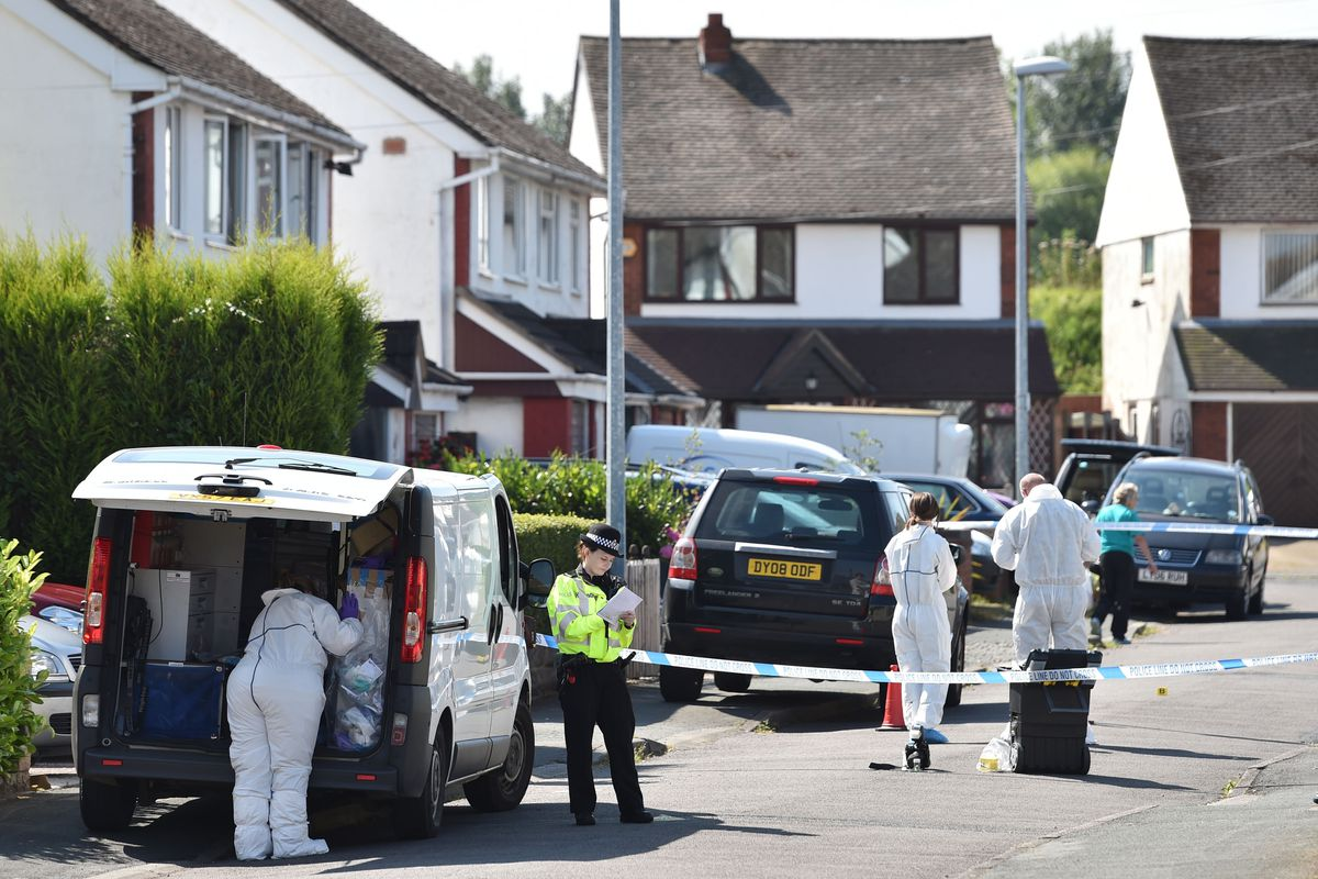 The scene in Meadow Close in Telford, after the former Aston Villa footballer died. Photo: Joe Giddens/PA Wire