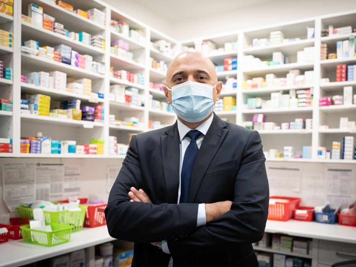 Sajid Javid at a London pharmacy