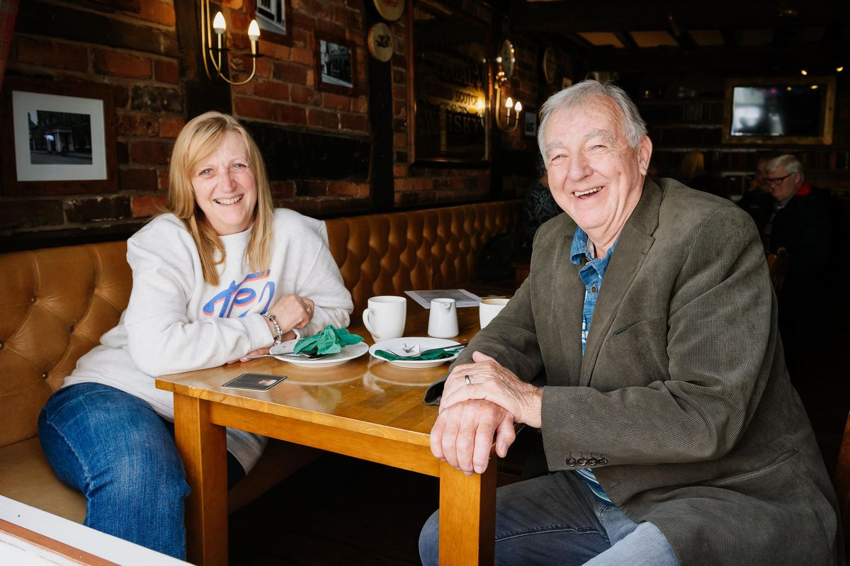 Carol Greenway and William Greenway, from Telford, at The Griffin Inn, Oswestry