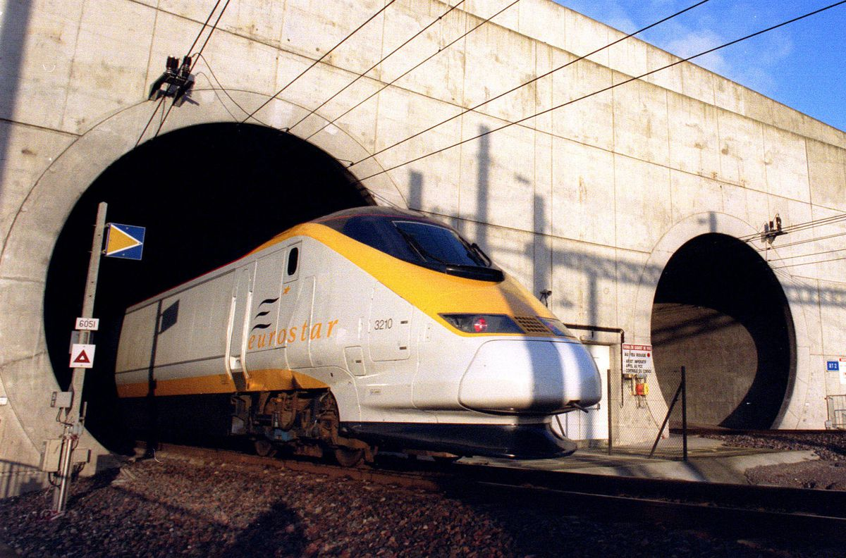 A Eurostar train emerges from the Channel tunnel at Sangatte, France, in December 1994