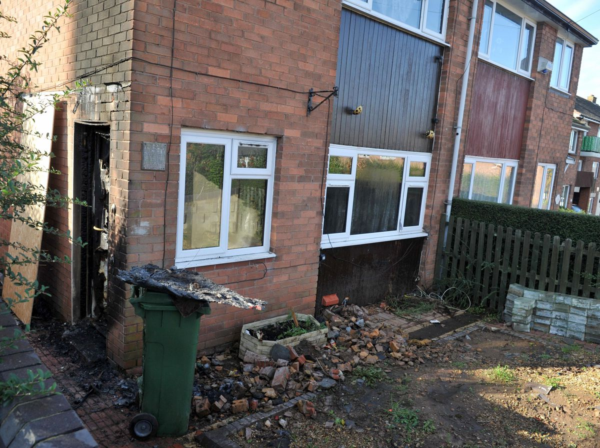 The aftermath of the house fire in Springhill Crescent, Madeley