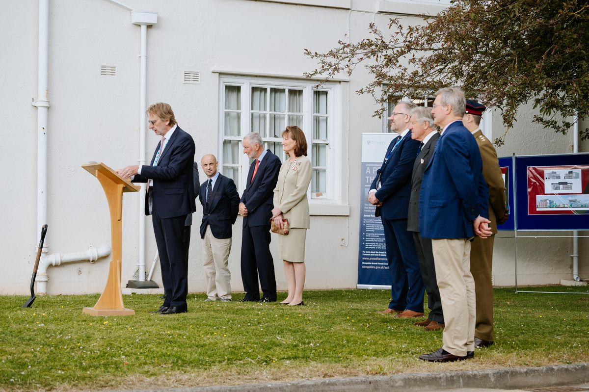 Turf cutting ceremony at Robert Jones and Agnes Hunt Orthopaedic Hospital in Oswestry for the new Veterans Centre at the hospital..