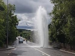 Temporary A5 traffic lights as burst main sprays water 20ft high
