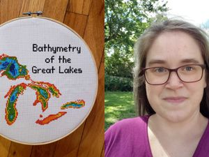 Kara Prior creates artworks which also educate on earth science - to the left, a picture of the bathymetry of the Great Lakes is stitched onto a white circular background, and to the right, Kara wears a purple top and dark-rimmed glasses, with trees in the background