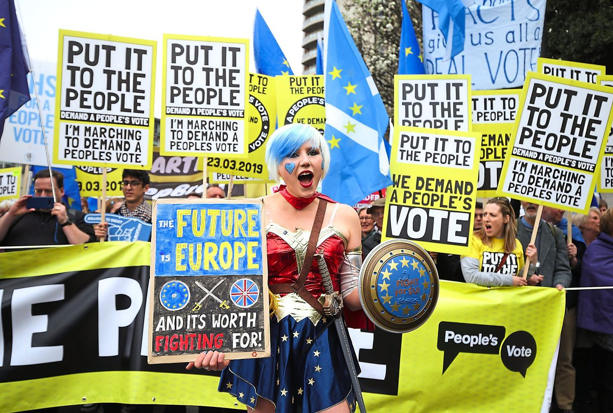 Anti-Brexit campaigners take part in the People's Vote March in London, in 2019. Pic: Yui Mok/PA Wire