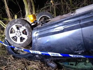 The crash happened on the A4110, Kingsland, near Leominster. Pic: @HWFireLeominstr