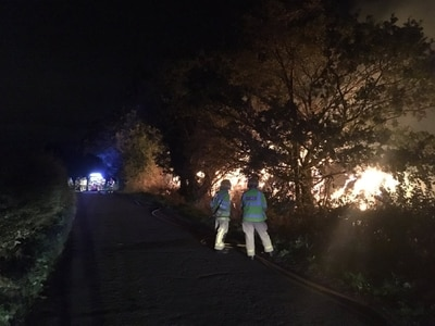 Firefighters tackle huge straw bale fire near Shawbury - with video