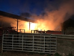 30 firefighters tackle huge barn blaze near The Wrekin