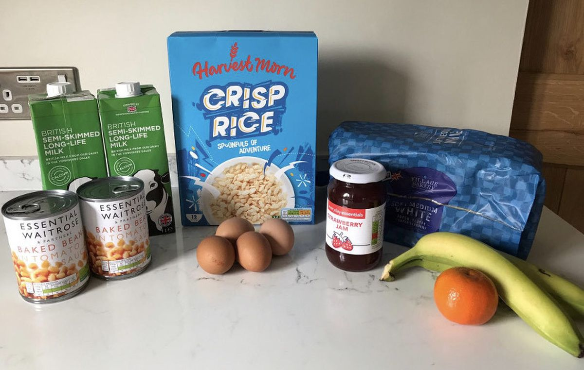 A typical breakfast parcel from the Newport Foodbank, although what features in each parcel can vary based on donations the food bank receives